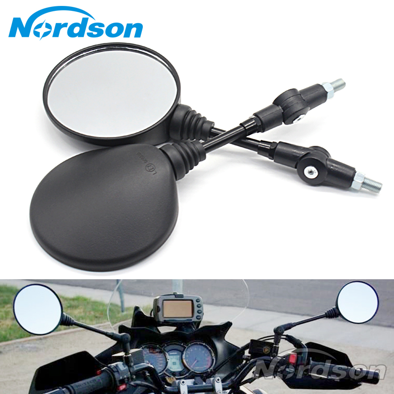 Custom Black Universal Folding Motorcycle Mirror motorbike Side Mirrors Rearview Mirror 8mm 10mm For yamaha Honda Suzuki qc m prince universal 0 8mm motorcycle rearview mirror silver black pair