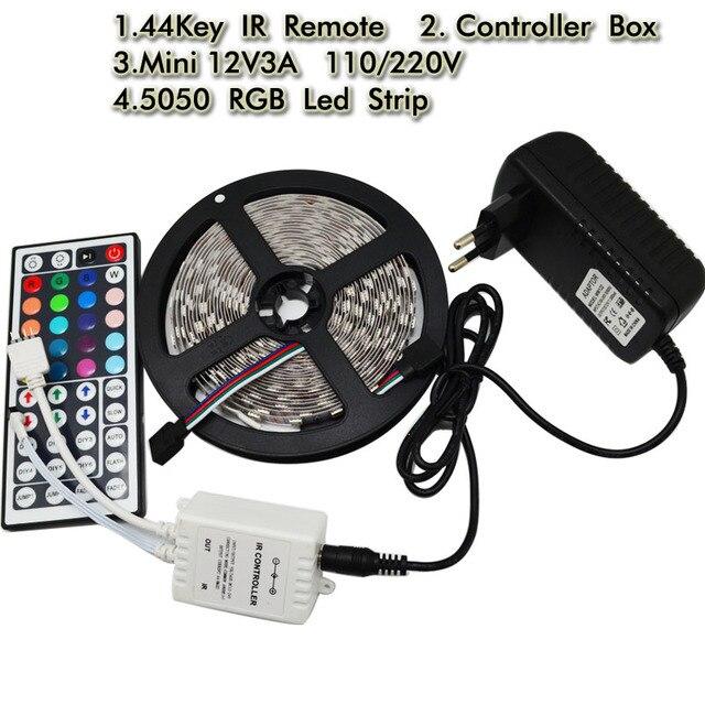 5050 Led Flexible Strip Light DC12V 5M 300led Diode Tape+44Key RGB IR Remote Controller +12V 3A Power Adapter EU US UK AU plug