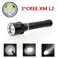 Waterproof 6000LM Diving Snorkeling Torch 3X CREE XML2 T6 LED Flashlight Lighting For Dive Camping Hiking