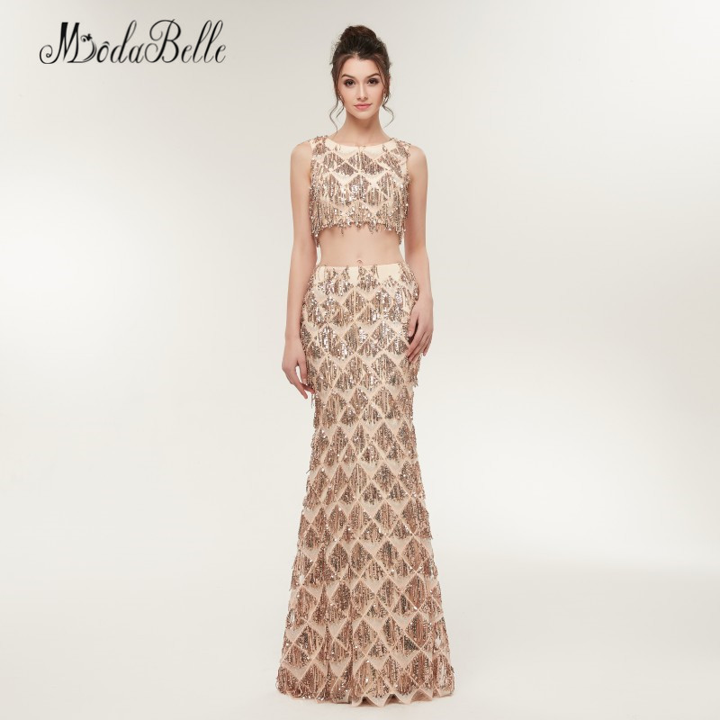 modabelle Mermaid Two Piece Sequin Prom Dresses Champagne Gold ...