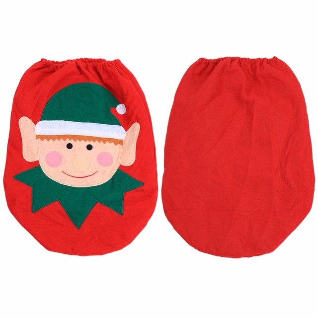 W Christmas Decorations Lovely Elf Snowmen Xmas Ornaments Decoration Bathroom Toilet Tank Seat Cover