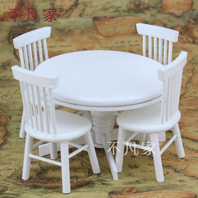 Ronde Tafel En Stoelen.Poppenhuizen 1 12 Schaal Miniatuur Meubels Wit Ronde Tafel En