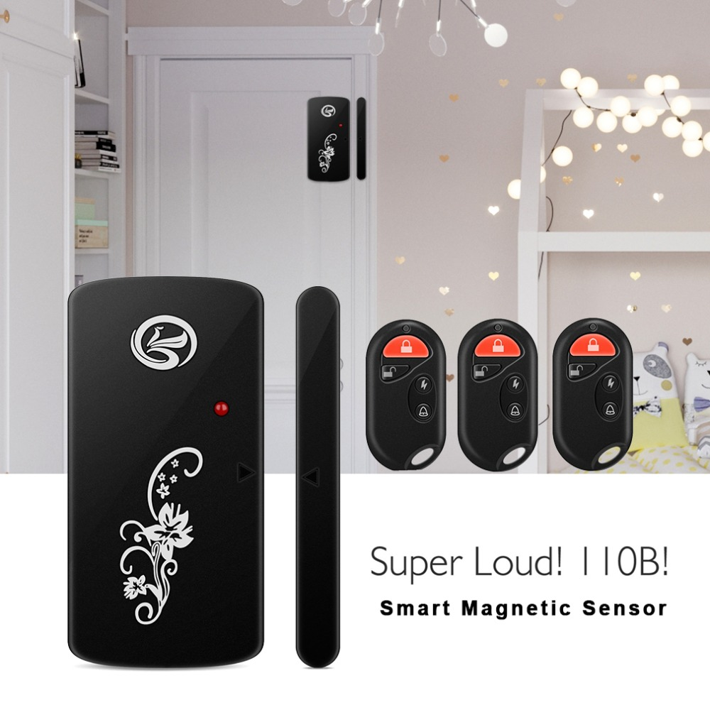 LESHP Smart Magnetic Sensor Remote Control Wireless Door Window Voice Alarm Home House Entry Burglar Security System 110db Black home security door window siren magnetic sensor alarm warning system wireless remote control door detector burglar alarm