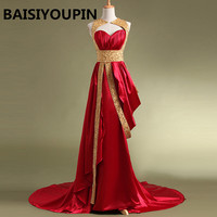 Muslim Evening Dress 2019 Robe De Soiree Courte A Line Beaded Long Red Evening Dress Dubai Evening Dresses