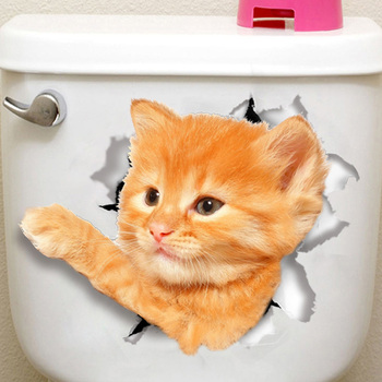 Cats 3D Wall Sticker Toilet Stickers Hole View Vivid Dogs Bathroom Home Decoration Animal Vinyl Decals Art Sticker Wall Poster 18