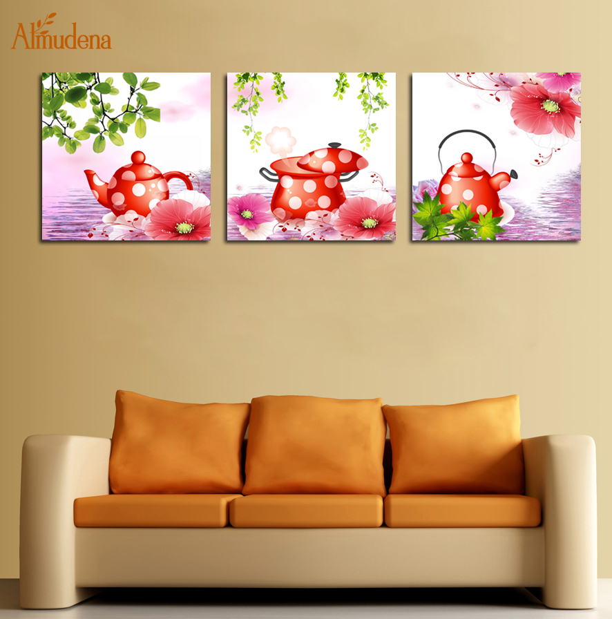 ALMUDENA Cute Pink Teapot Flower Plants Modern Canvas Painting Wall ...