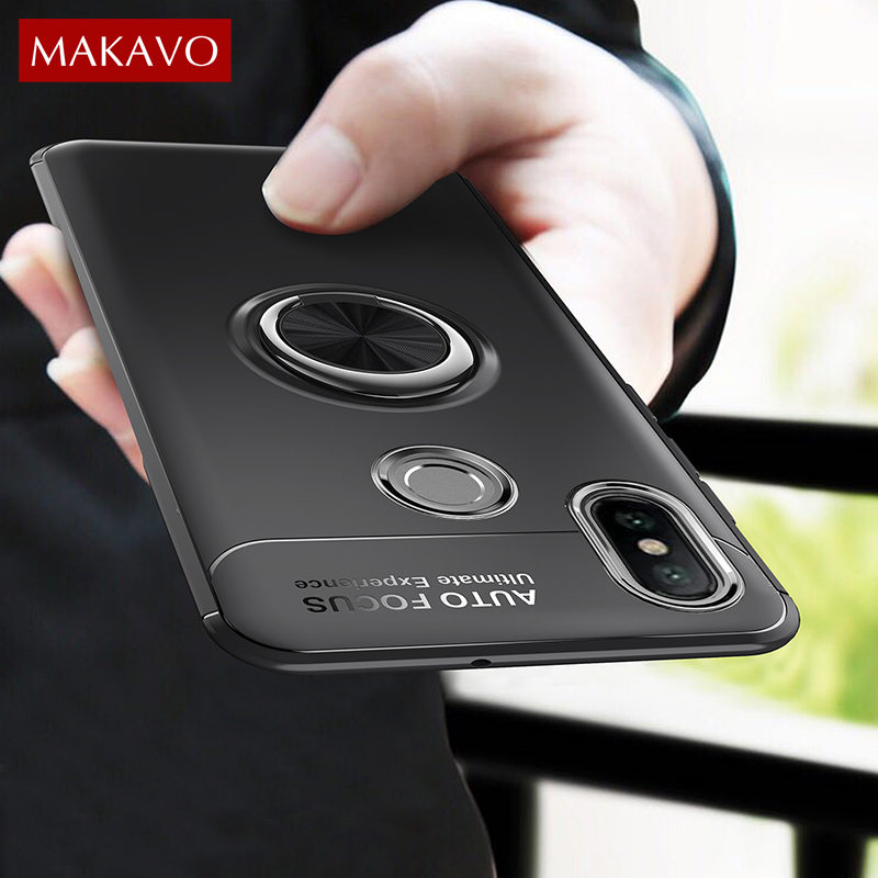 MAKAVO For Xiaomi Redmi Note 5 Pro Case Finger Ring Magnetic Car Holder Soft Silicone Back Cover For Redmi Note 5 Phone Cases