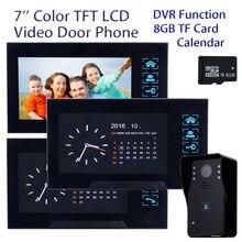 Blueskysea 7″ LCD TFT 3x Monitor HD Camera Doorbell Intercom 8GB Home Security Door Phone