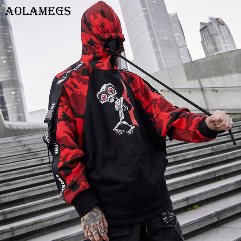 AELFRIC Autumn Hoodies Sweatshirts Men Hip Hop Punk Rock Long Sleeve Streetwear Ribbons 2018 Fashion Tops