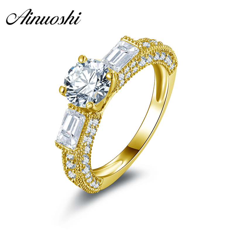 AINUOSHI 10k Solid Yellow Gold Wedding Ring Round Cut Design 1 ct Engagement Anelli Simulated Diamond Women Rings Fine Jewelry ainuoshi 10k solid yellow gold wedding ring 1 25 ct solitaire simulated diamond anelli donna brilliant proposal rings for women