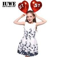 2017 여름 아이 드레스 여자 꽃 인쇄 우아한 화이트 드레스 큰 크기 12 14 세 십대 여자 의류 6 아이