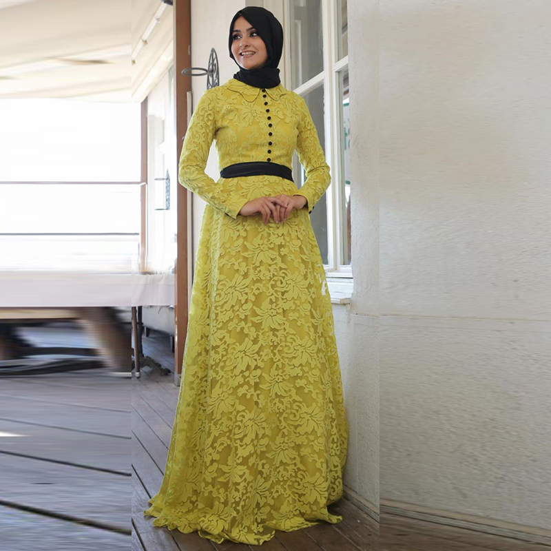 Mohammedan Islamic Muslim Evening Dress Yellow Lace Long Sleeve Modest font b Hijab b font Prom