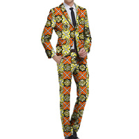 African suits men print clothes for wedding Ankara fashion pant suits customized wedding man's outfits customized