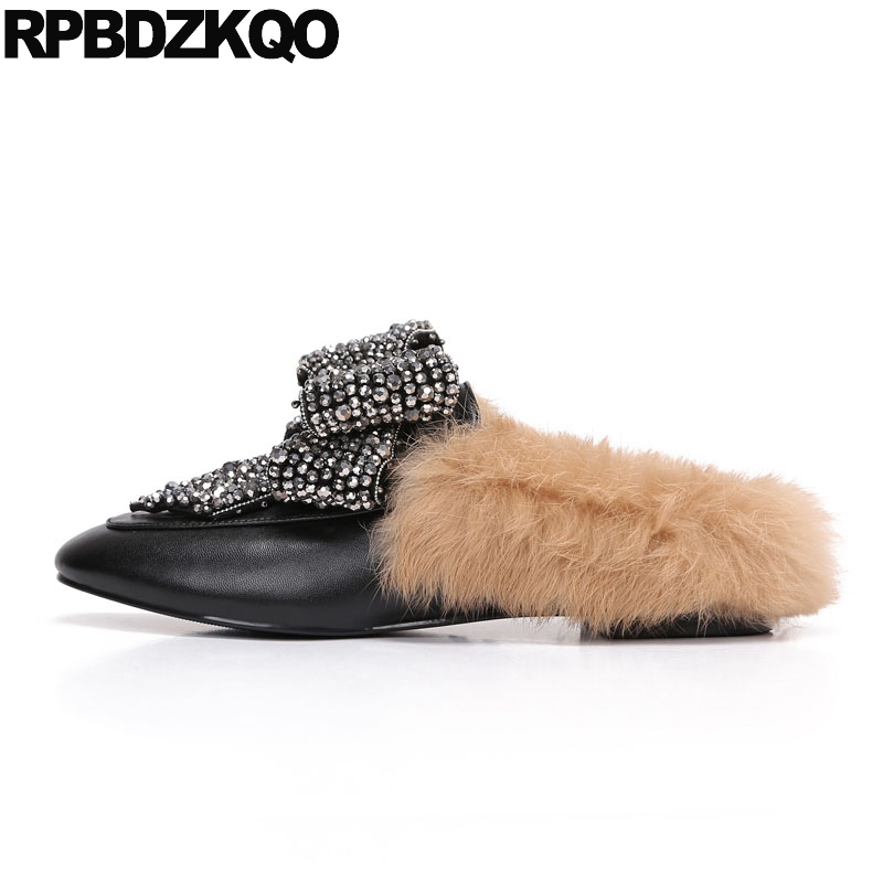 цена на Flats Loafers Stud Crystal Fur Big Bow Women Slippers Rhinestone Designer Shoes China Black Mules Rivet Latest Spring Autumn