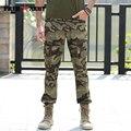 Marca Summer Casual Pantalones Rectos De Carga Camuflaje Militar de Algodón Bolsillos Con Cremallera Botón Remaches Pantalones de Camuflaje Para Los Hombres MK-7178C