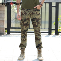 Free Army Brand Straight Cargo Pants Camouflage Punk Style Cotton Pockets Metal Snap Button Rivets Ribbon