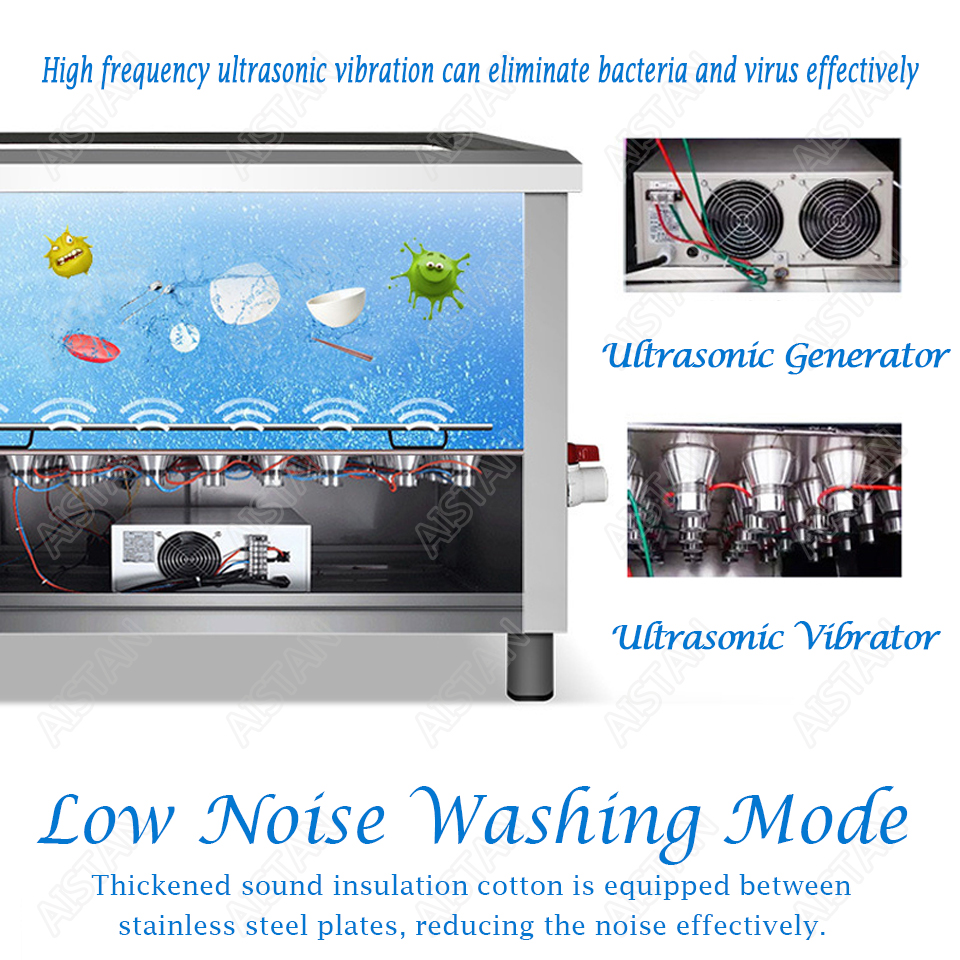 CSB60/CSB80 automatic ultrasonic dishwasher machine for commercial kitchen dish washing 6