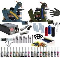Tattoo Kit 2 Tattoo Machines Gun Set Power Supply Needle Tube 20Pcs Tattoo Ink Pigment Body Art Permanent Makeup Tattoo Supply