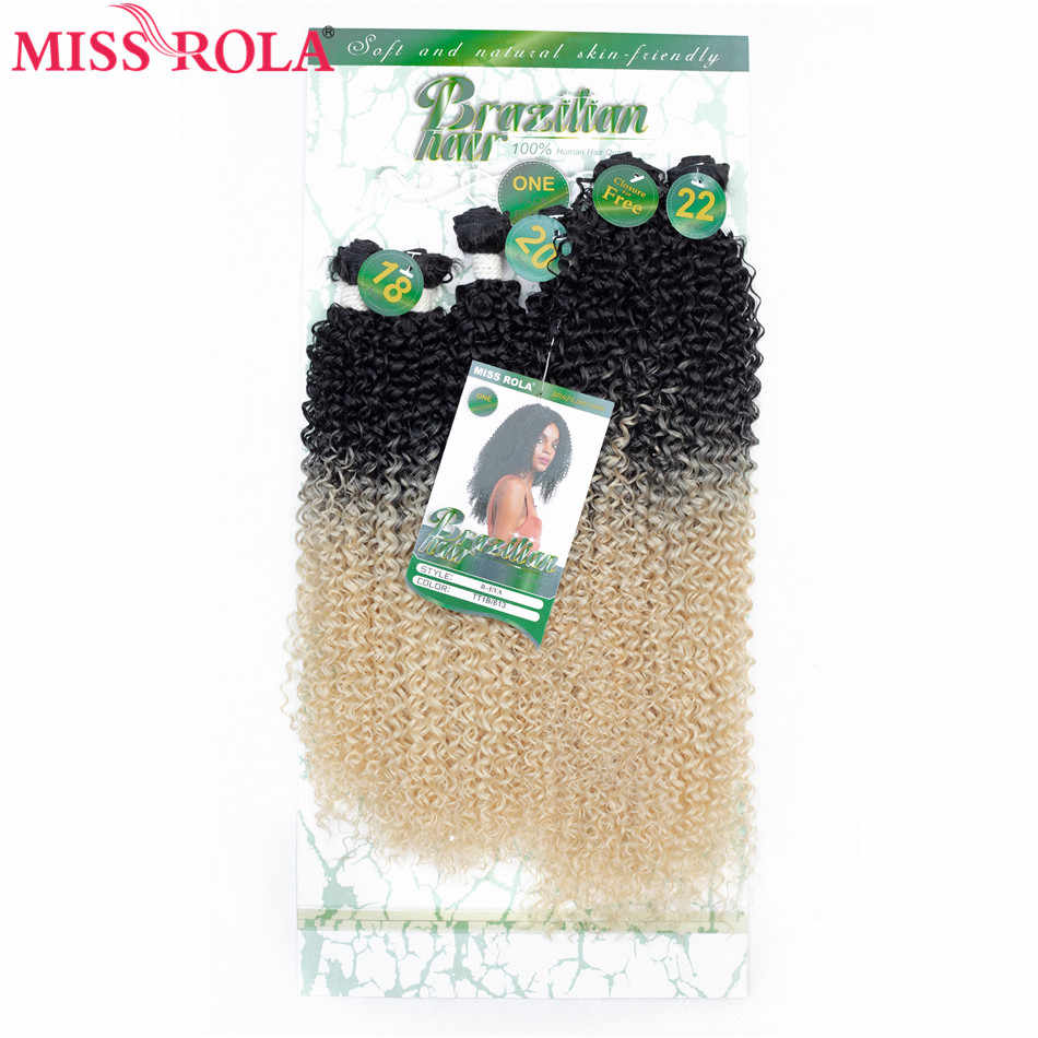 """Miss Rola syntetyczne doczepy z kręconych włosów wiązki włosów naturalnych włosy do przedłużania T1B/BUG 18 """"-22'' 6 sztuk/paczka 200G z bezpłatnym zamknięcie"""