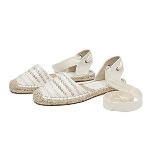Image 4 - Düz kadın sandalet Espadrille ayakkabı kadın 2019 yaz rahat ayakkabılar loaferlar kadın ayak bileği kayışı sandalet örgü ayakkabı beyaz kenevir ayakkabı
