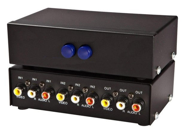 2 Channel RCA AV Selector 2 In 1 Out Video Audio Switch