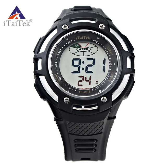 638e06bd4530 ITaiTek lujo hombres reloj Digital impermeable buceo 50 m retroiluminado  noche reloj electrónico de múltiples funciones