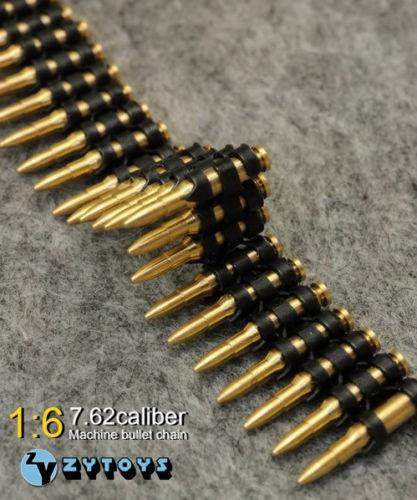 50pcs/set 7.62 Caliber Metal Machine Bullet Chain 1/6 Scale Figure Toys Accessory for 12 1