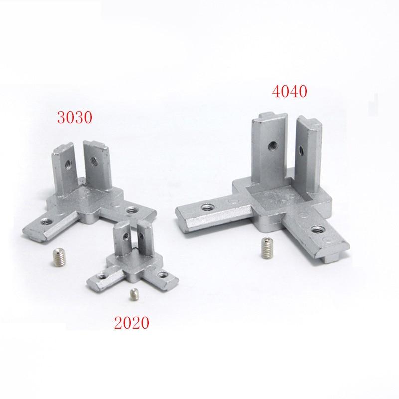 Hi-Q L Type 3-dimensional Bracket 2020 Concealed 3-way Corner Connector EU Standard 20/30/40 Series Aluminum Profile Parts