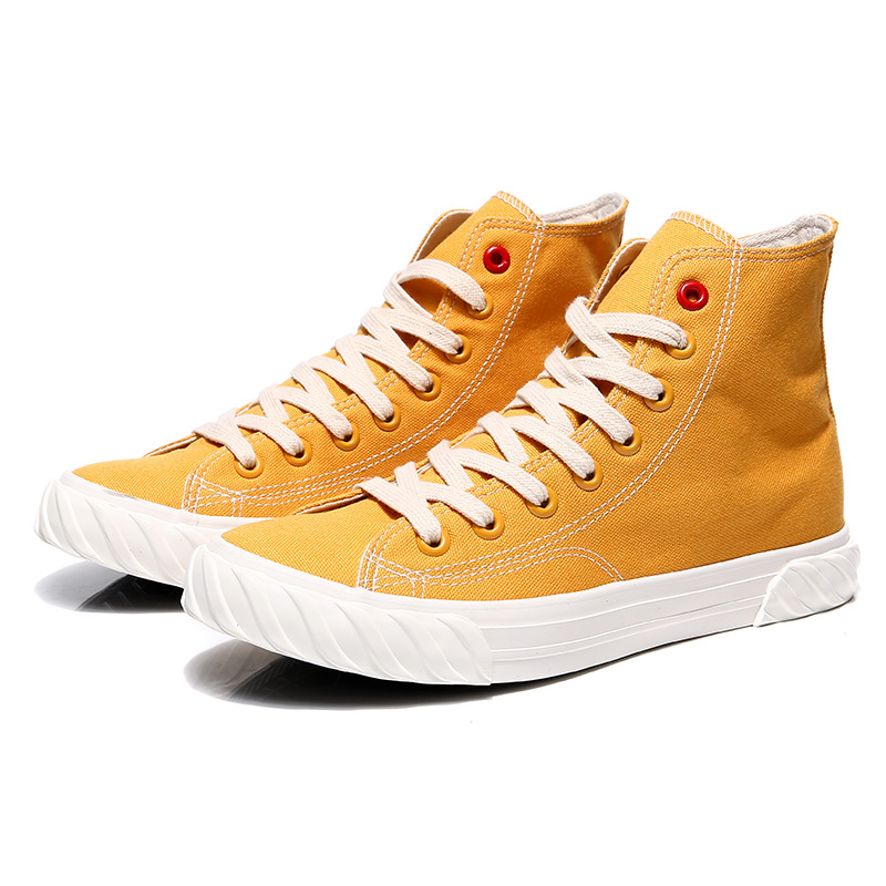 New Canvas Footwear For Men Yellow Beige Casual Footwear Youth High Top Casual Brand Men Shoes New Arrival Walking Shoes Canvas 17