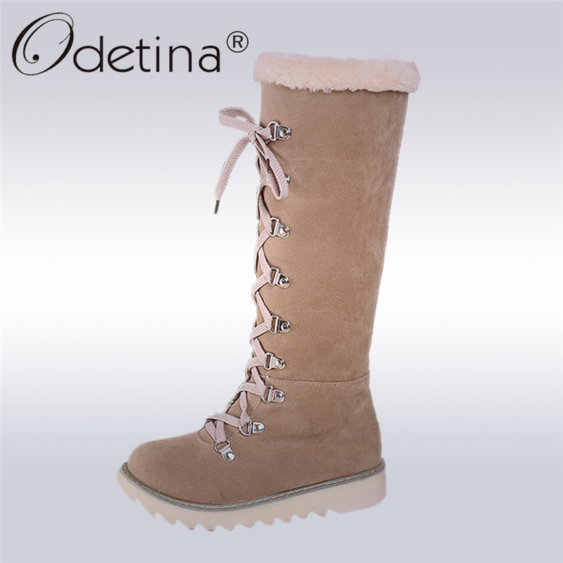 Odetina 2017 Flat Warm Plush Women Snow Boots Handmade Lace Up Mid Calf Ladies Australian Boots Fashion Winter Shoes Large Size