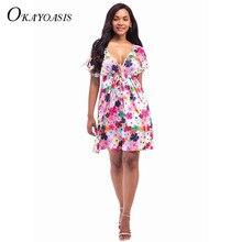 78052b9322b5c Okayoasis 2017 فساتين الصيف الأزهار المطبوعة الخامس الرقبة البسيطة فستان  عارضة النساء بوهيمية الهبي شيك vestidos الملابس