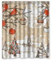 Merry Christmas Snowman Background Custom Shower Curtain Pattern Waterproof Fabric Shower Curtain For Bathroom 66*72inch