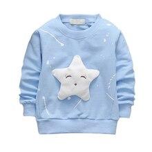 Детская футболка с длинными рукавами с героями мультфильмов; универсальная Корейская куртка со звездами для девочек; прямая международная торговля; Новинка
