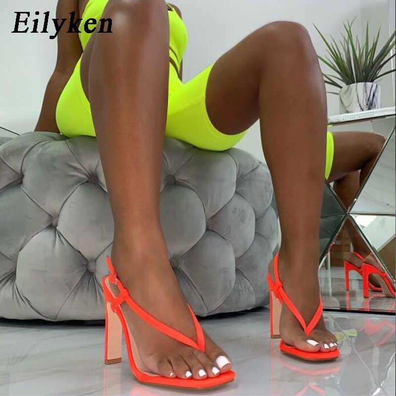 Eilyken yaz seksi turuncu yüksek topuklu sandalet kadın moda geri kayış Flip flop kare topuk 12CM gladyatör sandalet ayakkabı