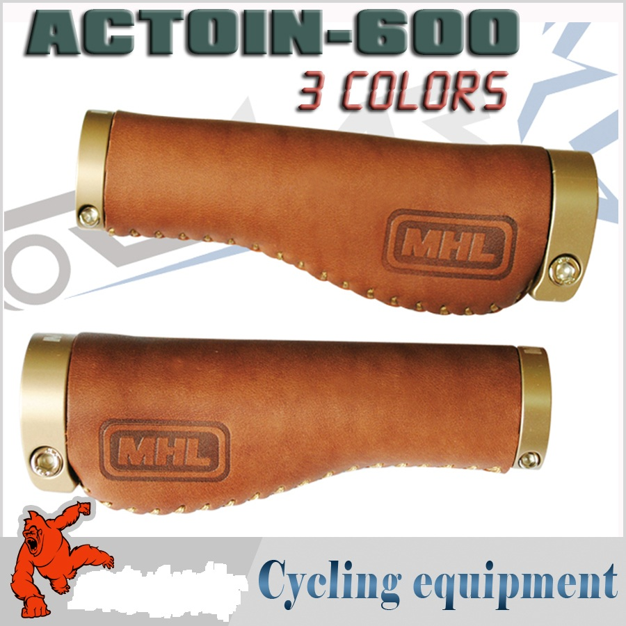 цена на 2017 hot MHL bicycle grips aluminum alloy Genuine Leather deformation cycling bike bicycle handlebar grips ACTOIN-600 mtb grips