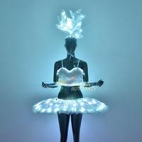 LED Skirt Women Valentine's Day Luminous Costumes Illuminated Headdress Halloween Glowing Corset Ballet Dress LED Light Clothes