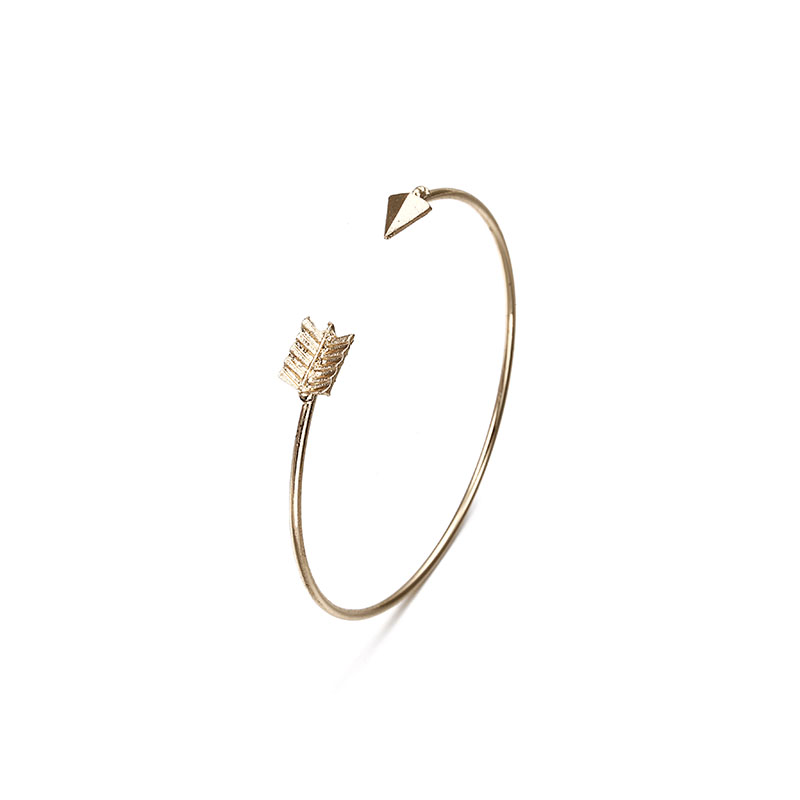 Vintage Cuff Bracelet Bangles for Women Brief Gold Color Open Arrow Knotted Charms Bracelet Jewelry valentines Gift ns54 3