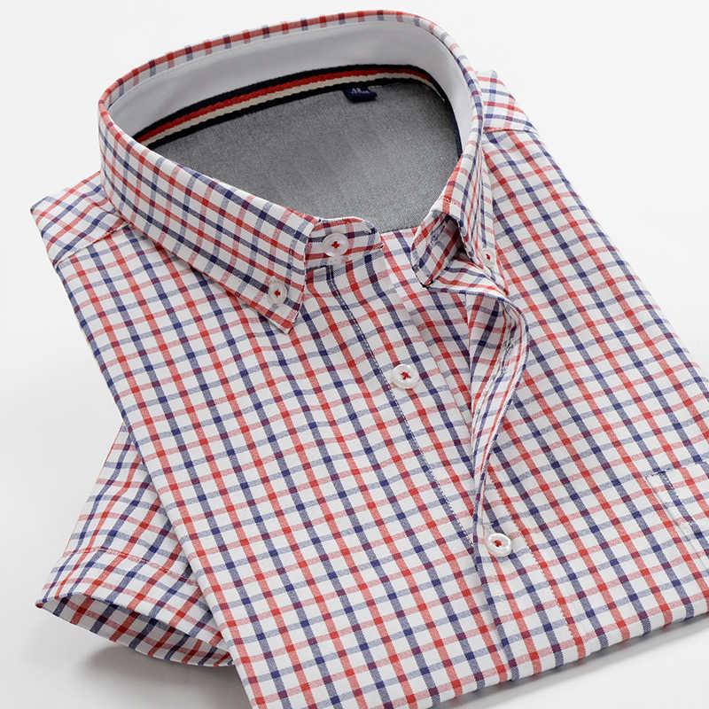 2020 夏新 7XL 8XL 9XL 10XL 男性のビジネスカジュアルなチェック柄半袖シャツ古典的な男性の綿ブレンドシャツ