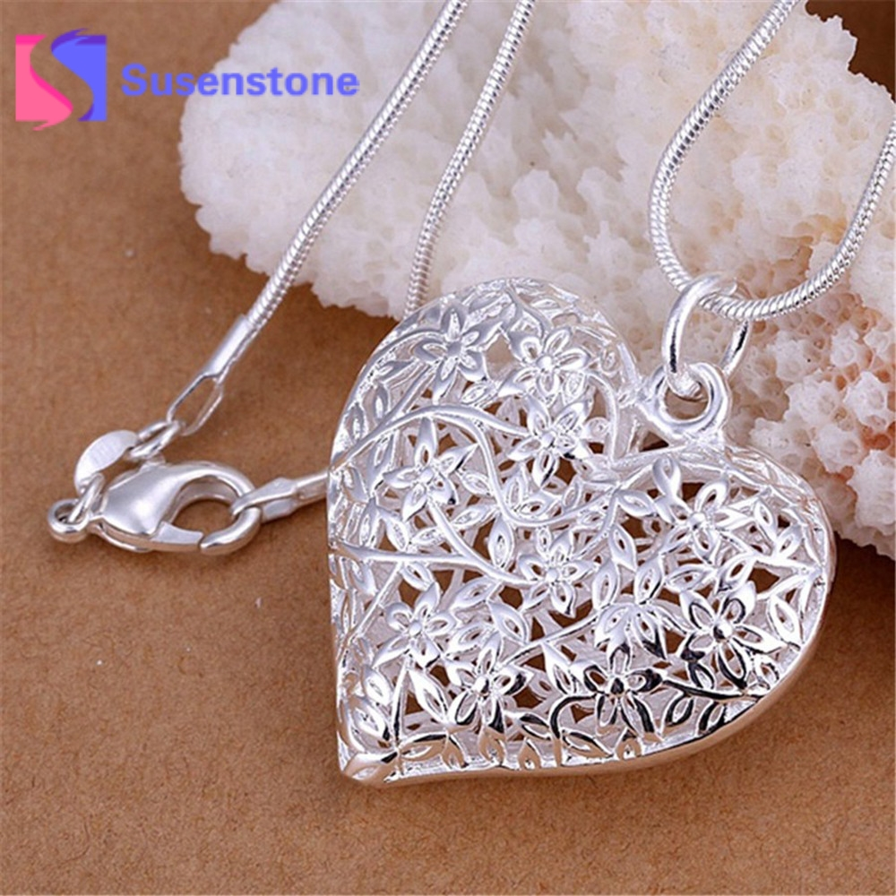 Wholesale Fashion Jewelry Elegant Charm Retro Exquisite Hollow Heart Pendant Necklace Women Silver plated Pendants Drop shipping