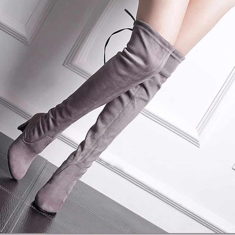 Kadın çizme Faux süet kadın diz botları Lace Up seksi yüksek topuklu ayakkabılar kadın kadın ince uyluk yüksek çizmeler Botas 35-43