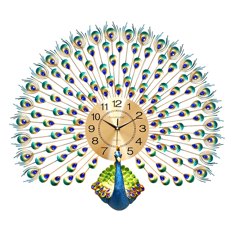 Grande horloge murale paon Design moderne décor à la maison montre murale salon chambre muet horloge murale métal numérique horloges murales - 5