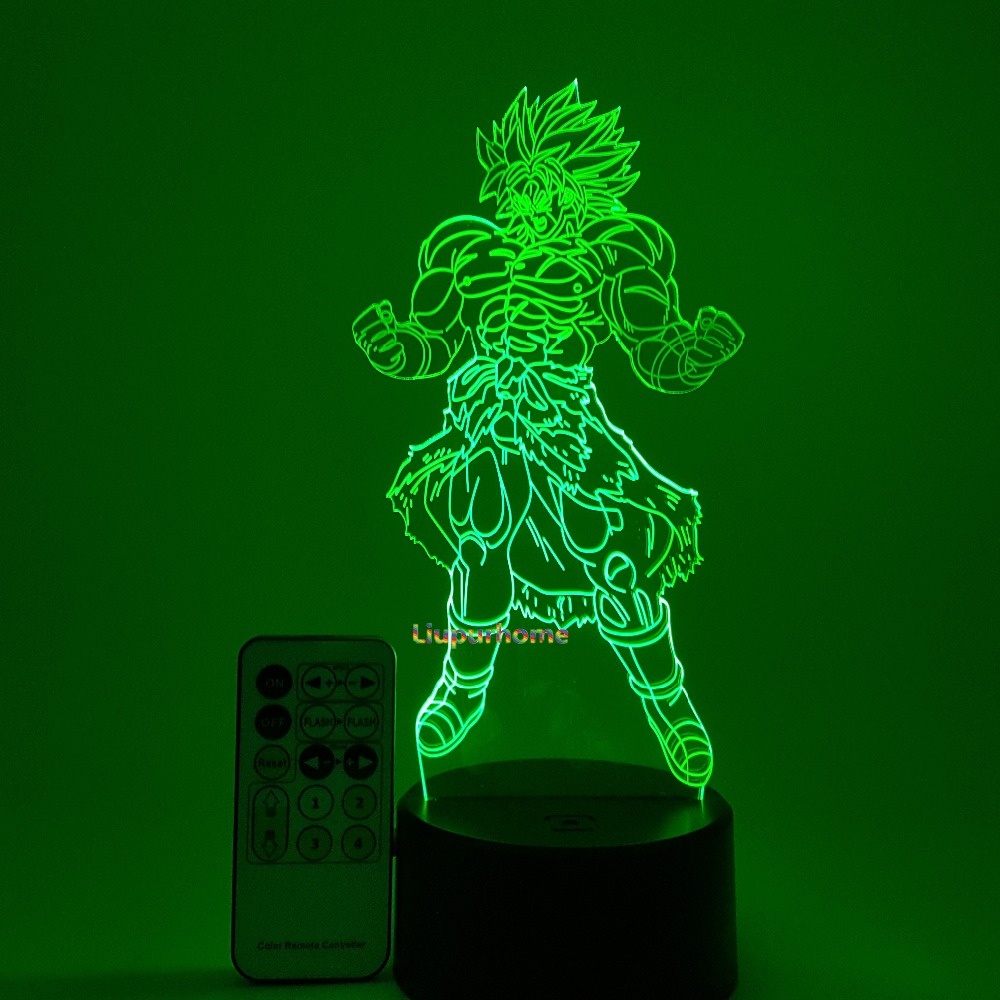 Dragon Ball Lampa Broly 3D lampki nocne Illusion Lampa biurkowa Dragon Ball Z Broli nowość oświetlenie Led Lampa zdalnie sterowana