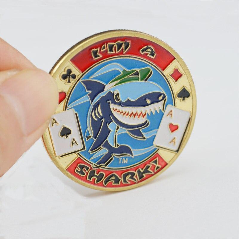 Металлические монеты покер карты Гвардии Protector Техасский Холдем Фишки для покера для Азартные игры и Развлечения с Пластик крышка Я Акула