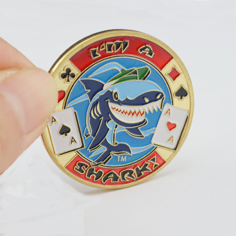 Поклон картице за метал кованице Заштитник штитника за Текас Холд'Ем покер чипове за коцкање и забаву са пластичним поклопцем И'м а Схарк