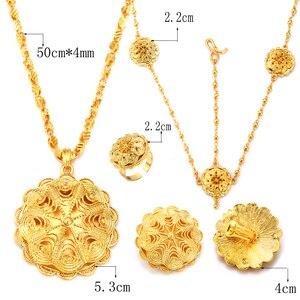 Image 2 - Ethlyn Groothandel Ethiopische Sieraden Sets Goedkope Bridal Bloem Party Vier Stuks Bruiloft Sets Afrikaanse Gold Plating Accessoires S323