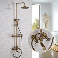 Три типа античная латунь смеситель для душа с полки 8 латунь Насадки для душа ванной кран Para Ванная комната Душ