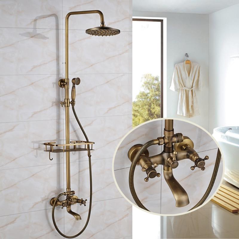 Three Types Antique Brass Shower Faucet with Shelf 8 Brass Shower Head Tub Faucet Para Bathroom Shower factory direct sale best price 8 brass head shower with hand shower bathroom shower faucet antique