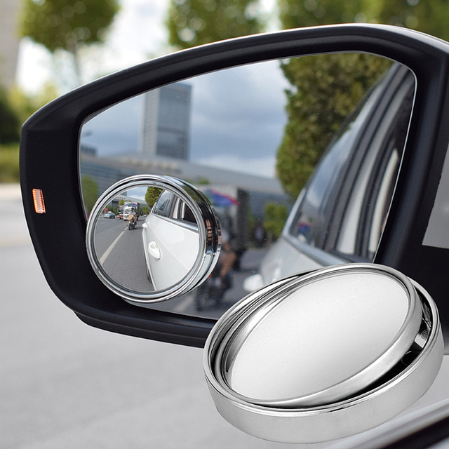 360 Degree Rotary  Push Car Rear View Mirror Small Round Mirror Large Vision Reverse Assist Blind Spot Mirror Car Accessories