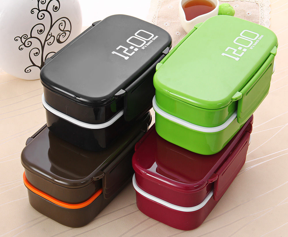 Fun Life 12:00 It's lunch time Japan style double tier Bento Lunch Box,Large meal box tableware Easy-Open microwave oven