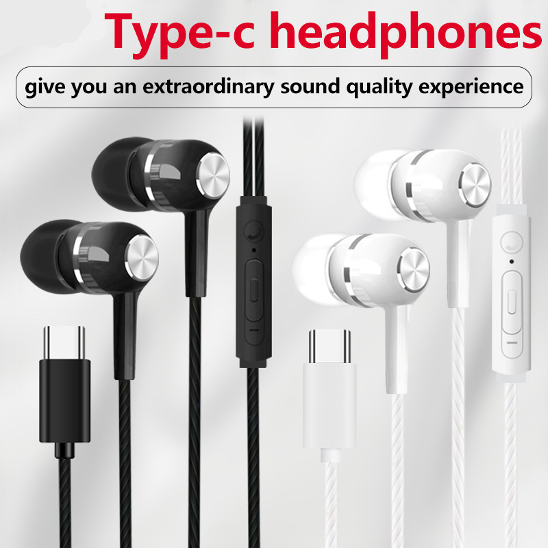 Image 2 - Type c Stereo Music Earbuds Wired Control Noise Cancelling earphone Sports With Microphone Type C Headset Usb c sh*-in Phone Earphones & Headphones from Consumer Electronics